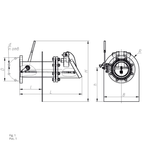 Чертеж раздаточного оборудования ПРУ-100, ПРУ-150