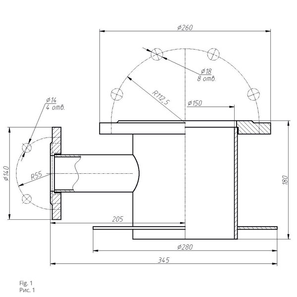 Чертеж патрубка замерного люка ПЛЗ-150
