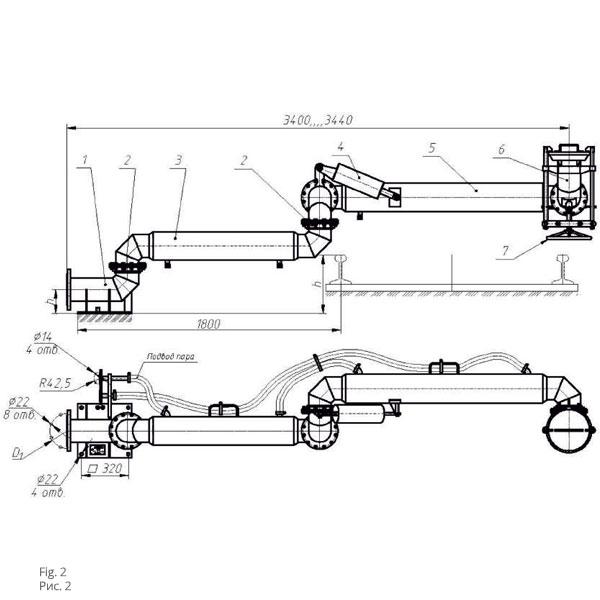 Чертеж установки нижнего слива/налива УСН с пароподогревом