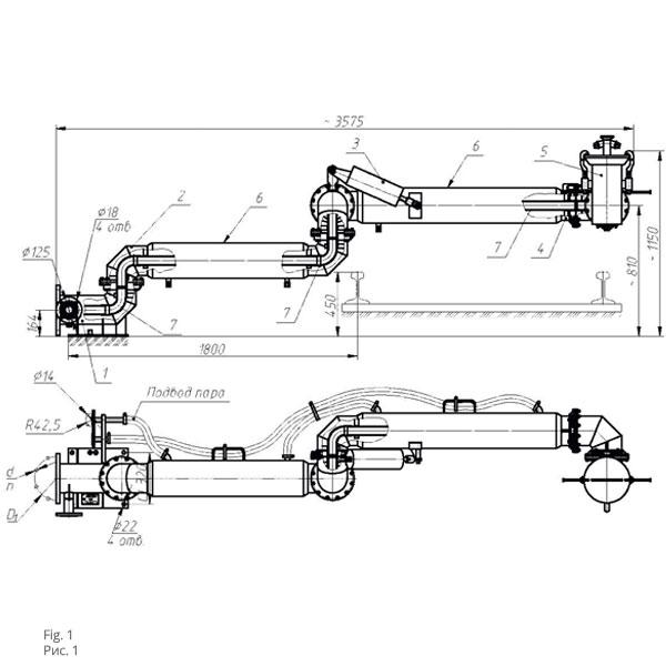 Чертеж установки нижнего слива с гидромонитором УСН-175/5ГП, УСН-200/5ГП
